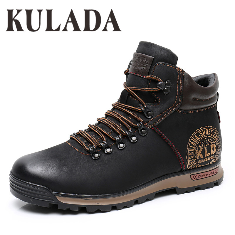 KULADA Boots Men's Winter Sneakers Boots Fashion Winter Snow Warm Boots Men Lace Up Breathable Footwear Men Casual Shoes