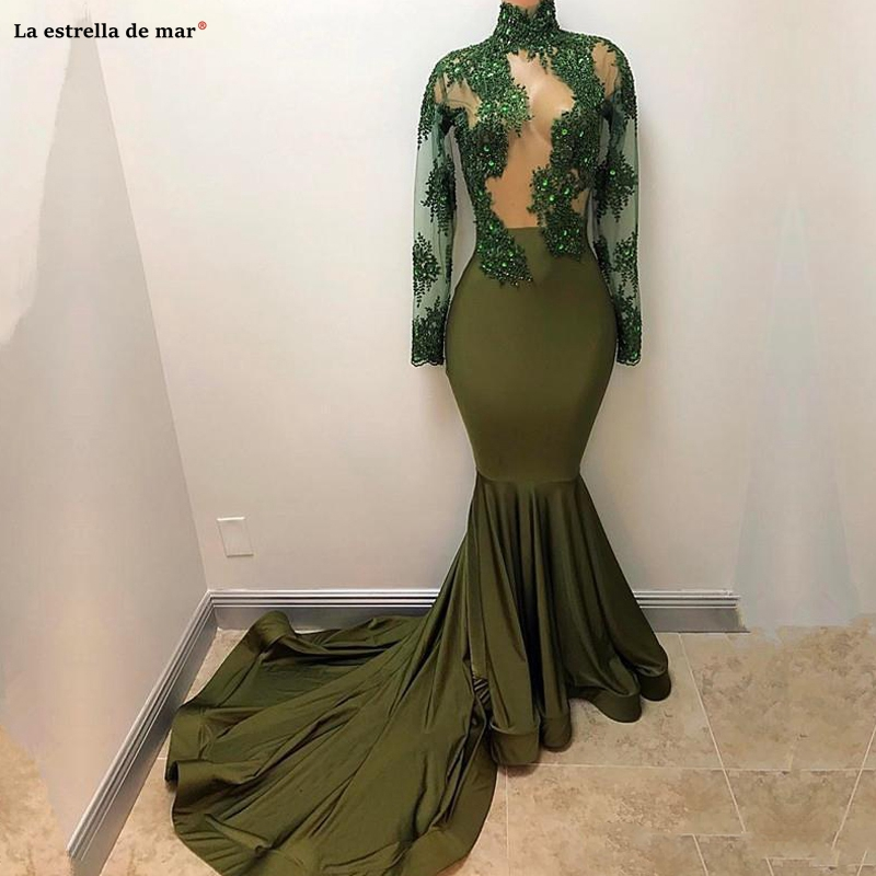 High Neck Long Sleeves Mermaid Olive Green Prom Dresses New Appliques Lace Formal Evening gown Long vestido formatura