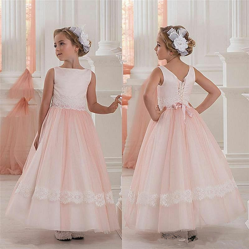Elegant Pink Princess Flower Girl Dresses For Wedding Tulle Communion Birthday Party Dress Girl Lace Party Banquet Dresses