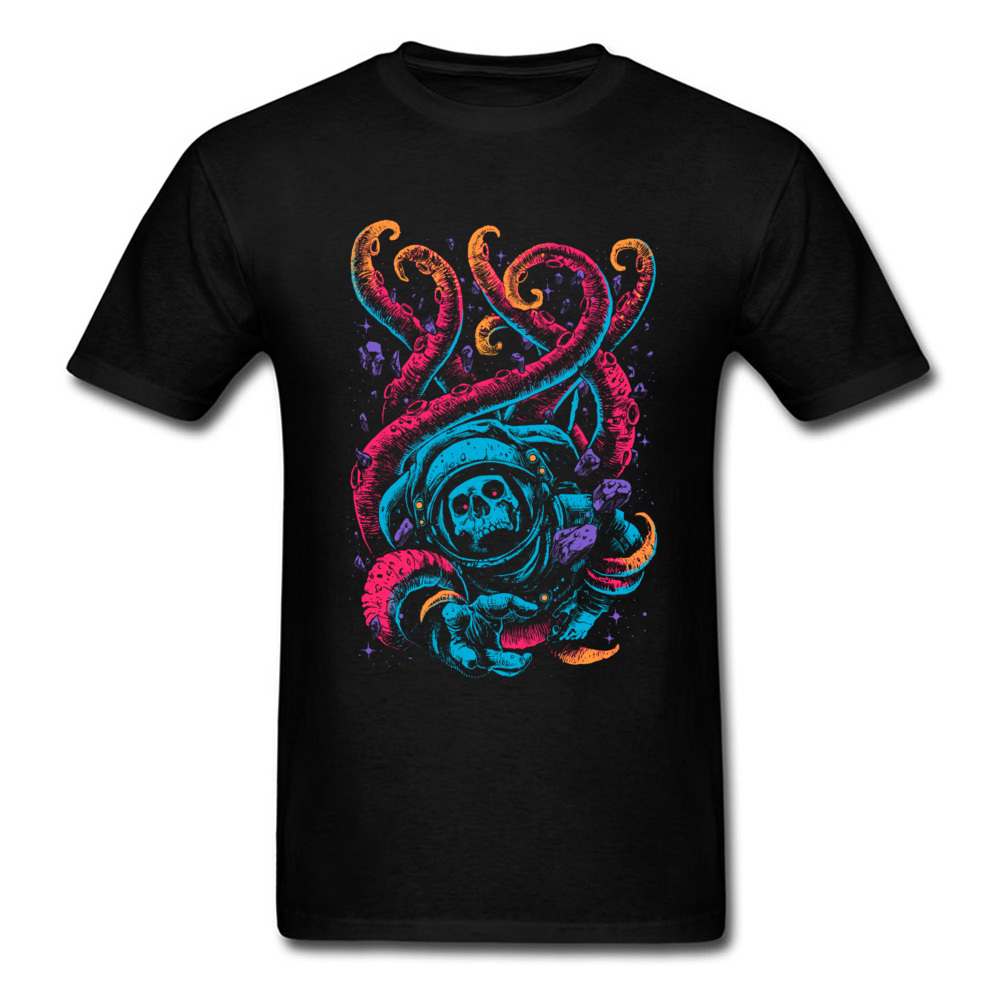 Lost In The Sea T-shirt Men Skull Astronaut T Shirt Neon Octopus Tshirt Print Monster Clothes Hipster Tops Hip Hop Tee Oversized