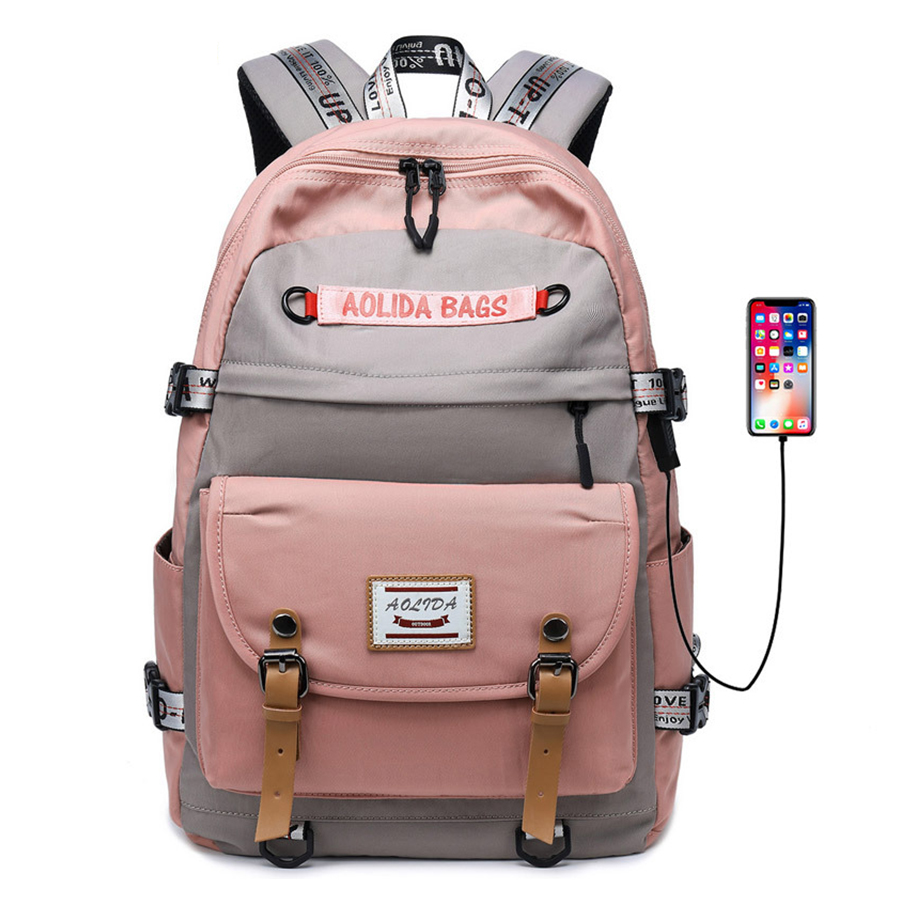 Large-capacity Backpack USB Charge Women Travel Bag Oxford Cloth 17 Inch Computer Backpack Fashion Girl Men College School Bag