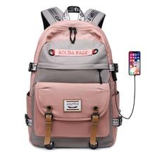 Plecak o dużej pojemności plecak USB dla kobiet torba podróżna Oxford 17 Cal plecak na komputer Fashion Girl Men tornister na studia