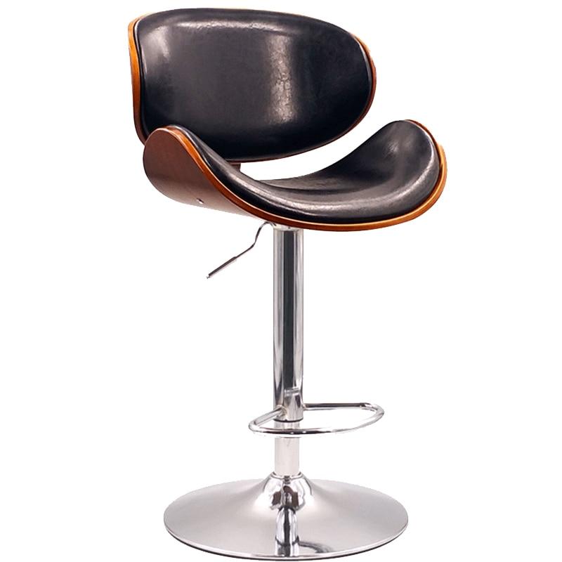 H1 Solid Wood Back Nordic Bar Stool Home Modern Minimalist Bar Chair Lift Rotating Front Desk High Stool Bar Stool Stool Bar