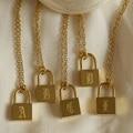 Anlauf Freie Edelstahl O-Kette Alte Englisch Gold Überzogene Personalisierte Schloss Halskette frauen Geburtstag Geschenk Brief Halskette