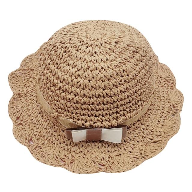 Summer Kids Baby Girls Child Bow-Tie Breathable Hat Straw Bucket Fisherman Cap