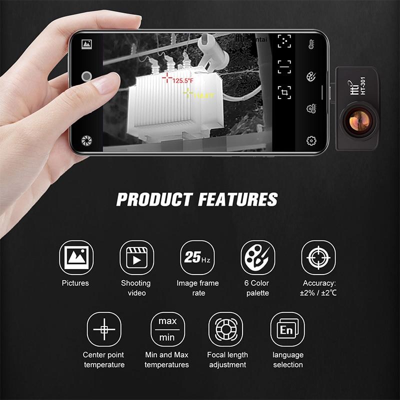 Тепловизор HT-301 USB Мобильный телефон тепловизор инфракрасный для Android телефонов-20℃~ 400℃ разрешение 384x288температурный пистолет