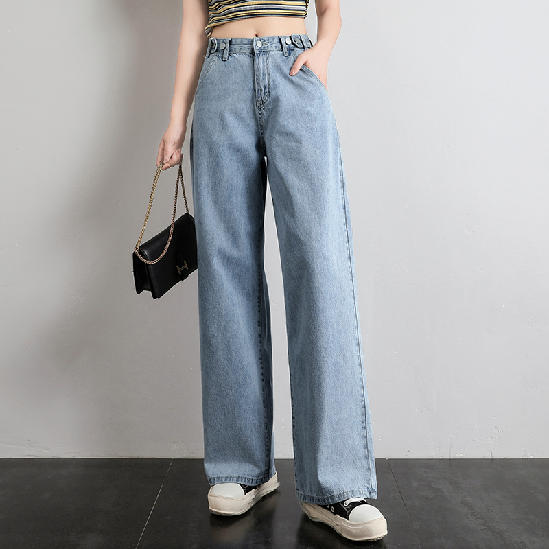 High Waist Pants Women Long Jeans Casual Straight Wide Leg Trousers Fashion Buttons Ladies Mom Denim Jeans Pants Vaqueros Mujer