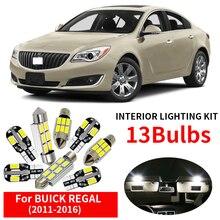 13x Canbus Livre de Erros LED Interior Luz Kit Pacote para 2011-2016 BUICK REGAL Acessórios Do Carro Mapa Dome Trunk luz de licença