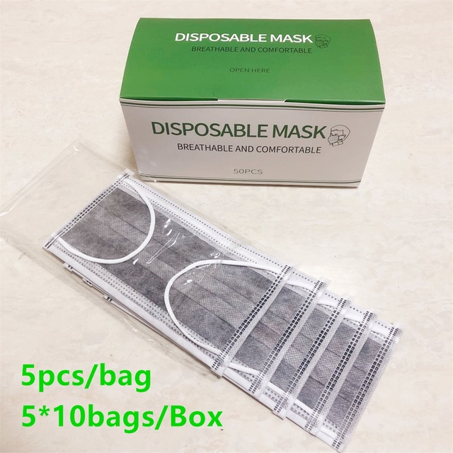 In Stock 50pcs/Box Face Mask 4 Layers Prevent Bacteria Anti Dust Activated Carbon Fliter Proof Flu Mouth Masks Fast Delivery 4