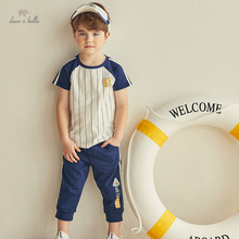 DKY17305 Dave bella summer kids boy 5Y-13Y striped letter clothing sets children casual suits toddler infant clothes boys outfit