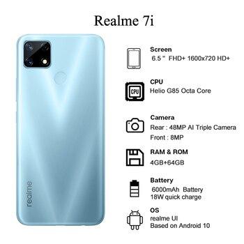 realme 7i Newest Smartphones 6.5 Inch HD Helio G85 Octa Core 4GB 64GB 6000mAh 48MP AI Quad Camera Android 10 LTE Cell phones 6