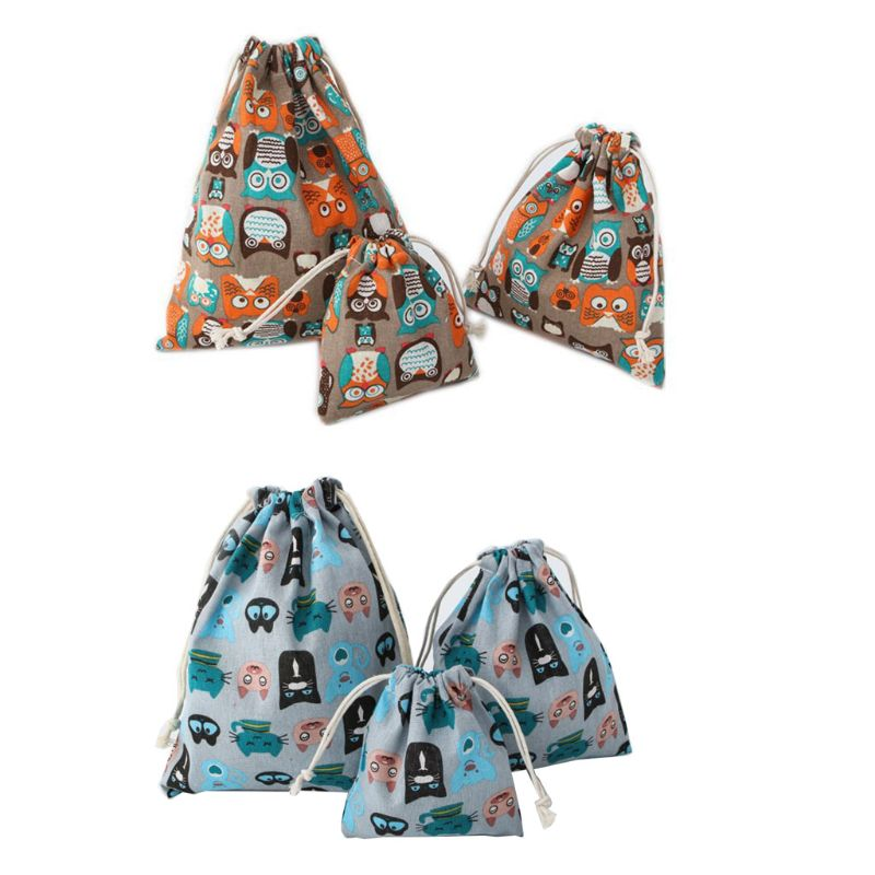 Portable Drawstring Owls Pattern Travel Storage Shoes Bag Organizer Pouch Packing Gift Bags
