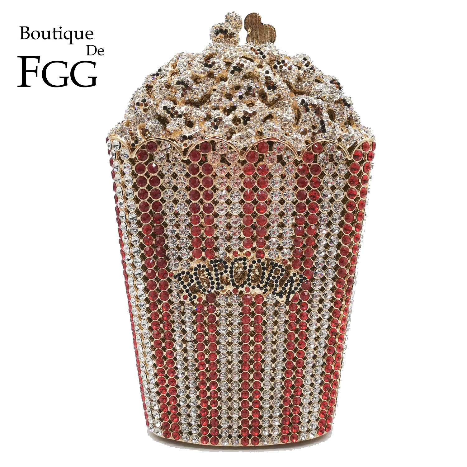 Boutique De FGG Luxury Crystal Women Evening Bags And Clutches Popcorn Minaudiere Clutch Handbag Bridal Wedding Party Purse