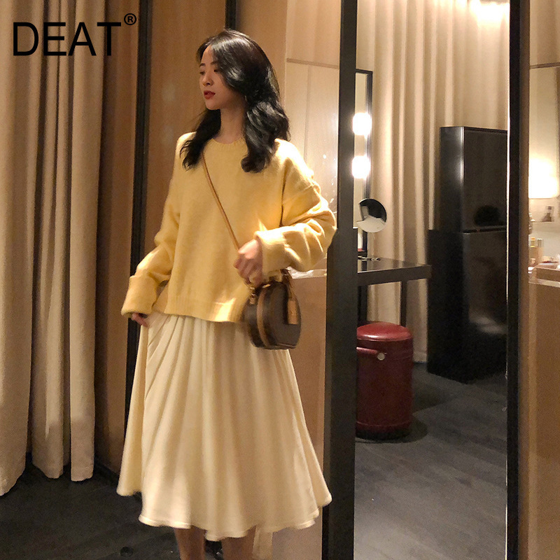 DEAT 2019 Autumn And Winter New Products Fashion Solid Color Round Neck Long-sleeved Sweater + Skirt Two-piece Suit PB077