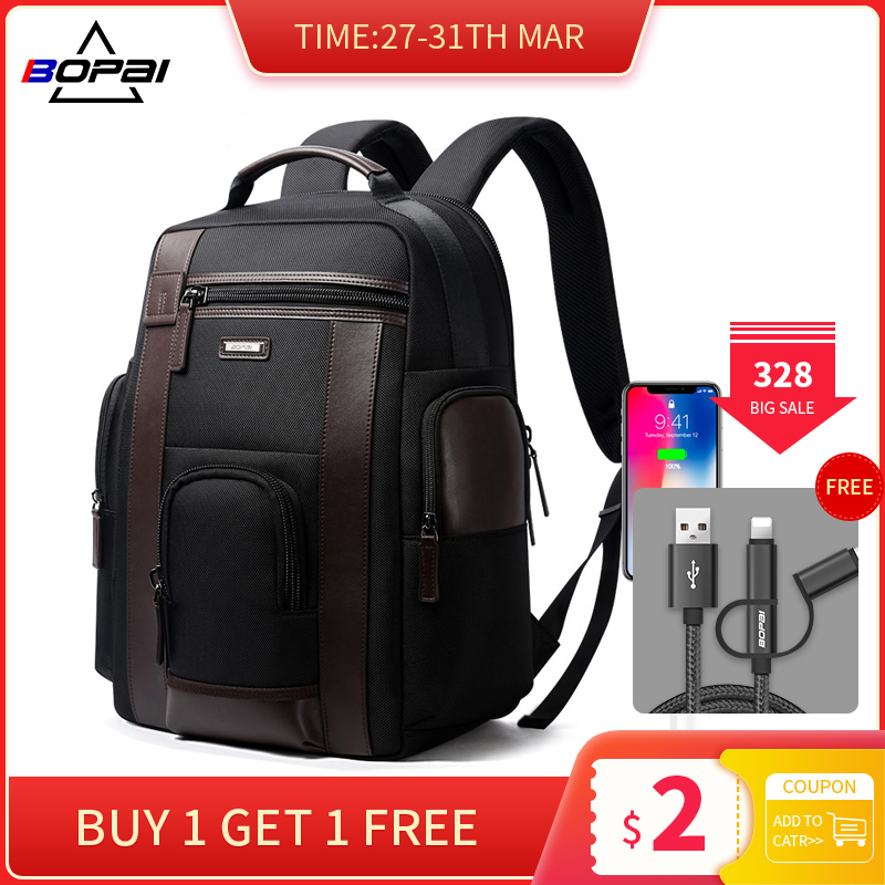 BOPAI Multifunction USB Charging Men 17 Inch Laptop Backpacks For Teenager Fashion Male Mochila Black Travel Backpack Anti Thief
