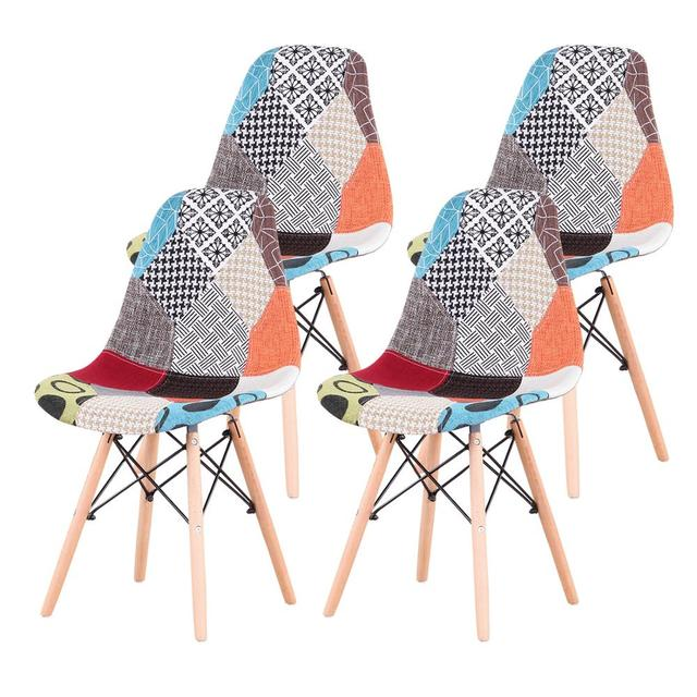 A Set of 4 Nordic Medieval Style Patchwork Frabic Dining Chairs, Beech Wood Foot Metal Bracket, Suitable for Kitchen Dining room