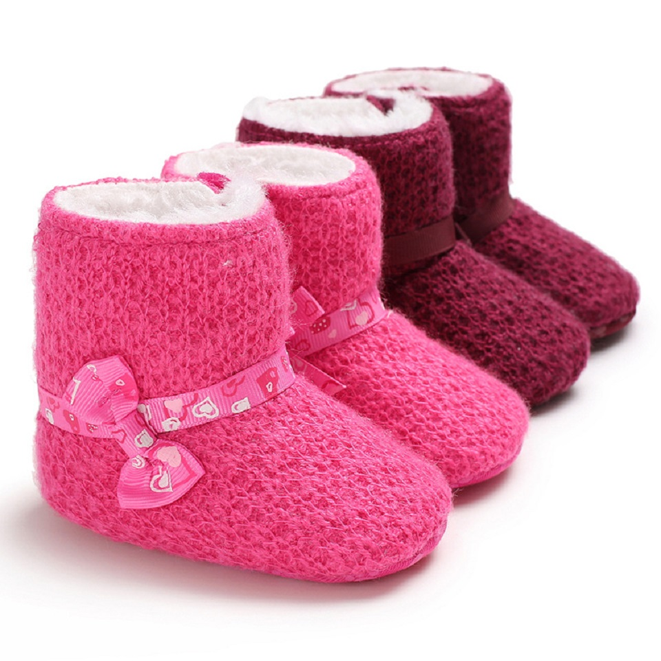 Baby Shoes Winter Snow Bowknot Anti-Slip Soft Sole Girls Boys First Walker