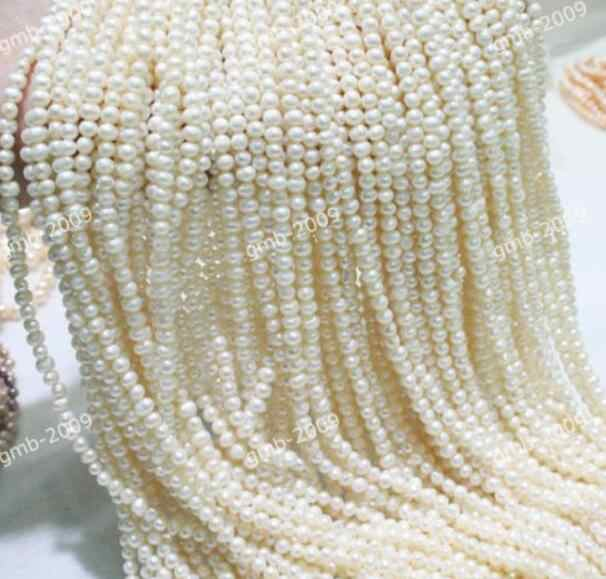"Jewelry Pearl Necklace Genuine Natural 3-4mm White Freshwater Pearl Roundle Nugget loose Beads 14"" Free Shipping"