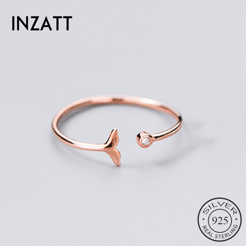 INZATT Real 925 Sterling Silver Zircon Fish Tail Ring For Fashion Women Party Cute Fine Jewelry Minimalist Accessories 2019 Gift