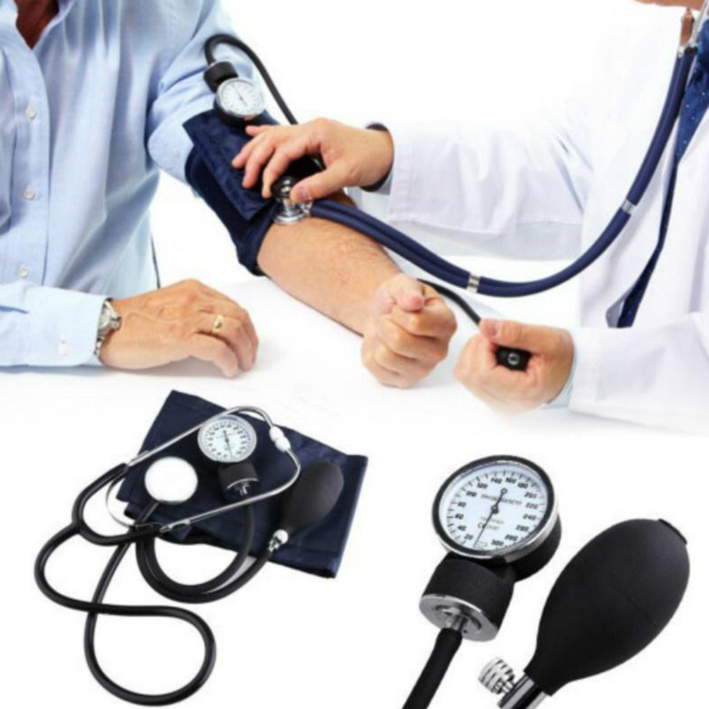 Manual Arm Blood Pressure Monitor Stethoscope Sphygmomanometer Aneroid Gauge Device Home Meter Kit Medical Equipment For Health