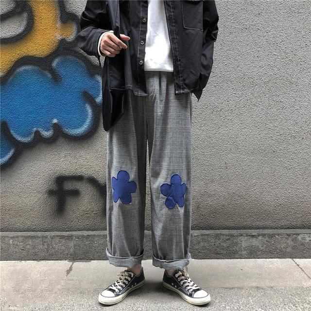 2020 Men's Embroidery Flower Printing Wide Leg Pants Lattice Leisure Casual Pants Hip-hop Style High Quality Trousers Size M-XL 2