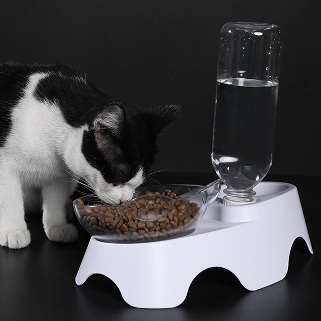 New Cat Ears Shaped Pet Cat Bowl Oblique Double Bowls Drinking Fountain Leak Proof Cervical Vertebra Neck Protection For Cat Dog in Cat Feeding Watering Supplies from Home Garden