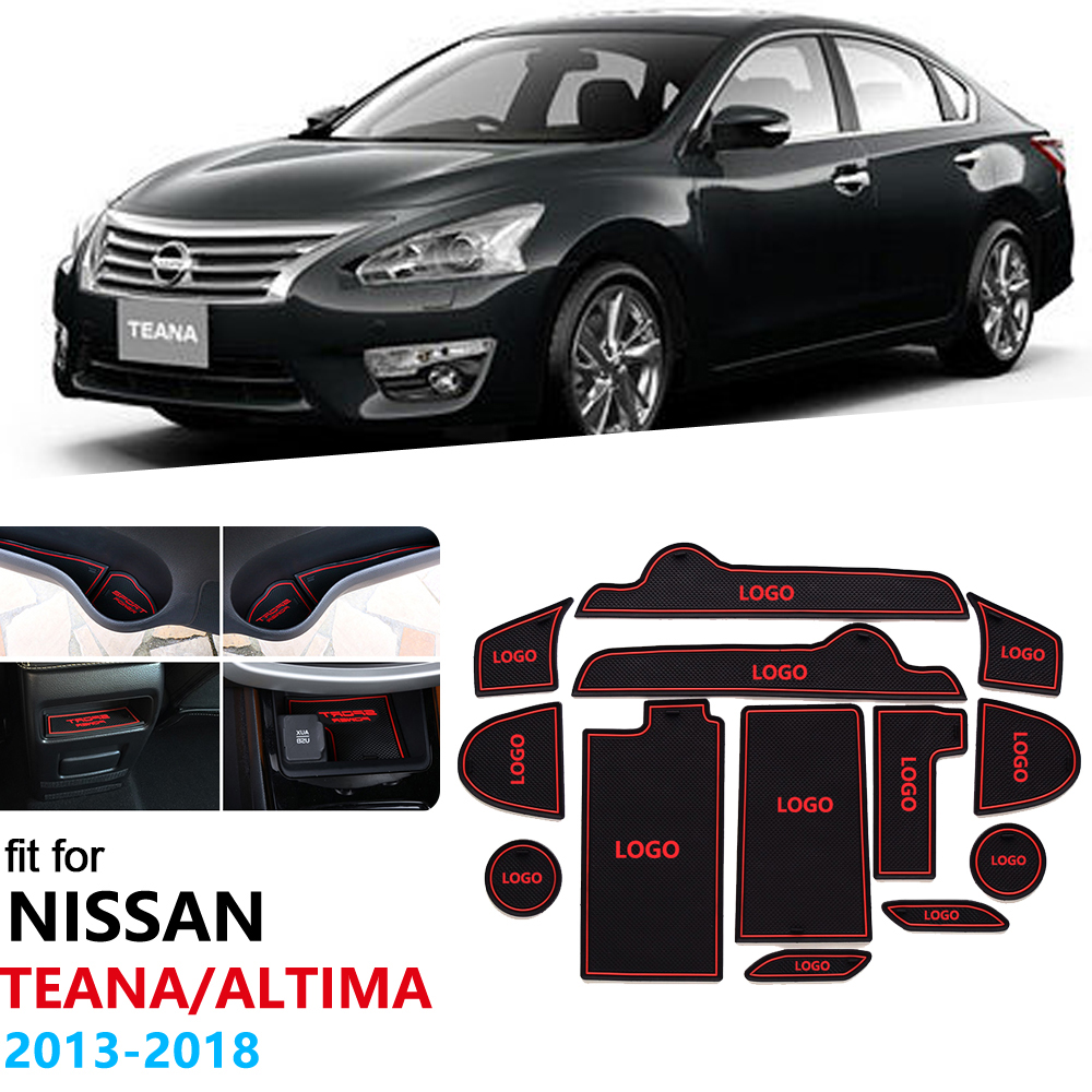 For Nissan Teana Altima L33 2013~2018 Anti-Slip Rubber Gate Slot Cup Mat Door Groove Mat 2014 2015 2016 2017 Car Stickers