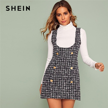 SHEIN Multicolor Double Button Tweed Overall Short Dress Women Autumn Slim Fitte