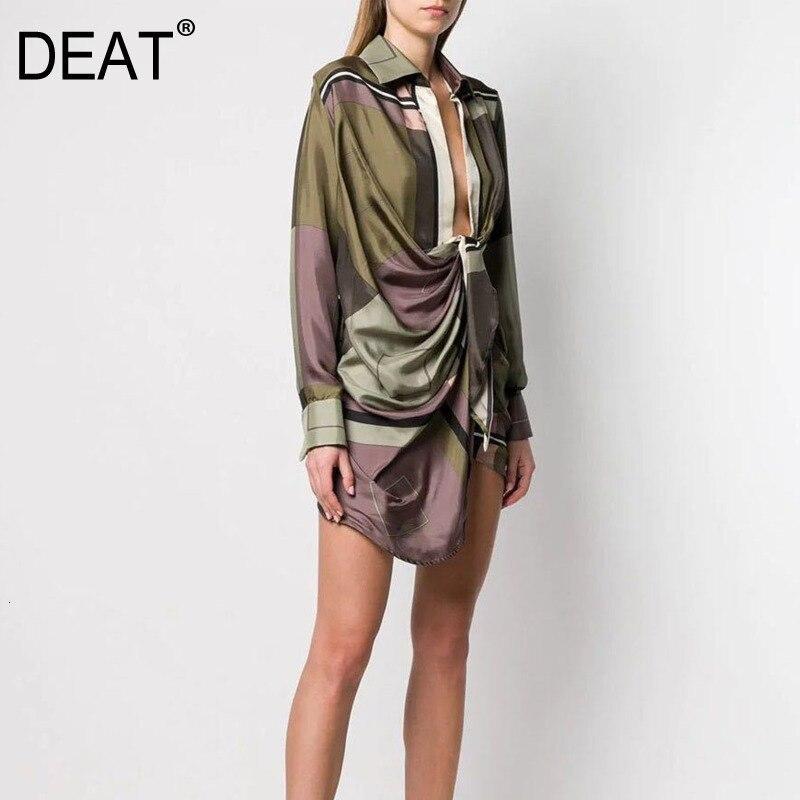 DEAT 2019 Leisure Full Sleeve Asymmetrical Empire Waistline Knee Length Dresses Women V Neck Loose Print Dress Autumn New TD660