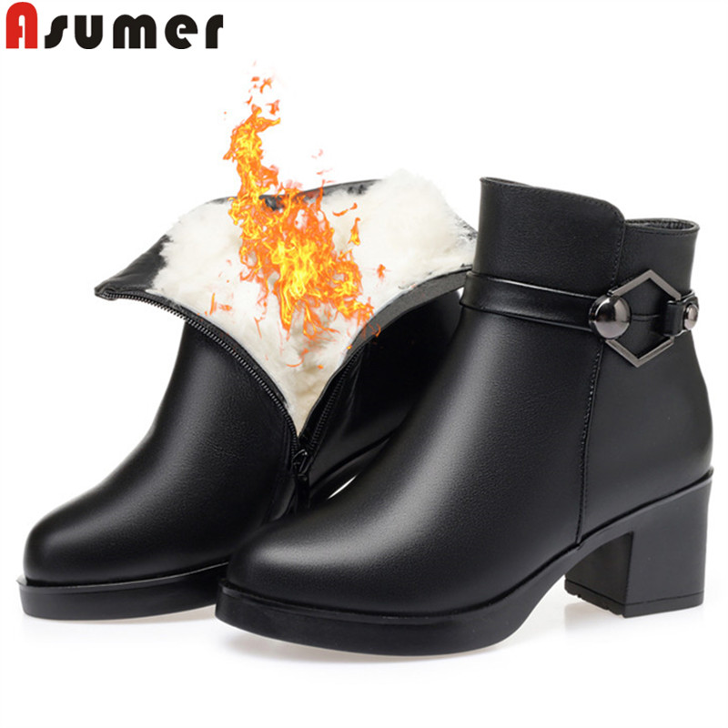 ASUMER big size 35-43 fashion winter ankle boots for women round toe zip keep warm boots prom sheep wool ladies snow boots 2020