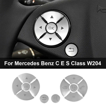 12pcs Car Interior Steering Wheel Buttons Cover Trim ABS Silver Car Styling For Mercedes Benz C E S Class GLK W204 W212 X204