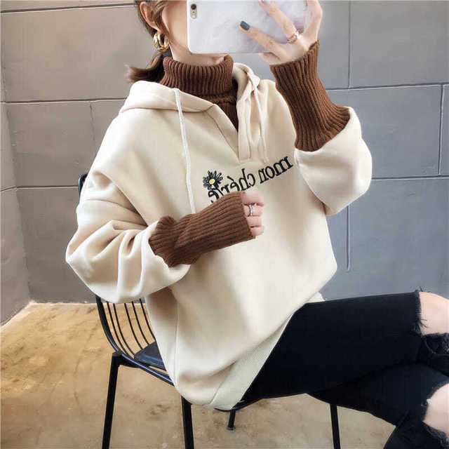 Autumn and Winter New Korean Version of Women's Hooded High Collar Fake Two Fashionable Tops with Plush Thickening for Students 2