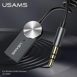 USAMS-adaptador auxiliar con Bluetooth 5,0 para coche, receptor Bluetooth inalámbrico, USB a conector de 3,5mm, adaptador de Audio y música para altavoz de coche, manos libres