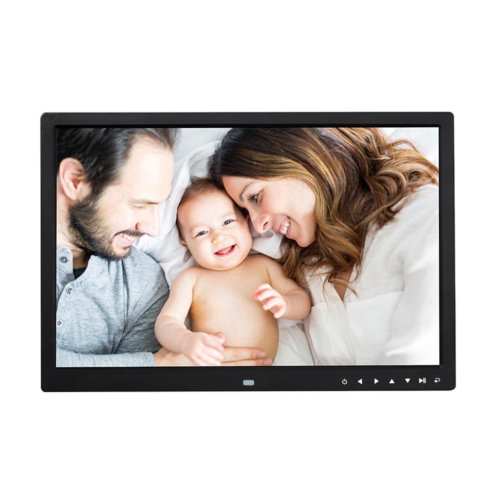 Marco de fotos Digital con pantalla HD de 17 pulgadas, reproductor multimedia de vídeo y música LED de 1400x900, Control de imagen inteligente con botón táctil