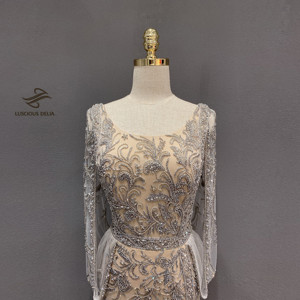 Image 5 - Elmas boncuk kolsuz Mermaid resmi elbise 2020 yeni dubai akşam elbise