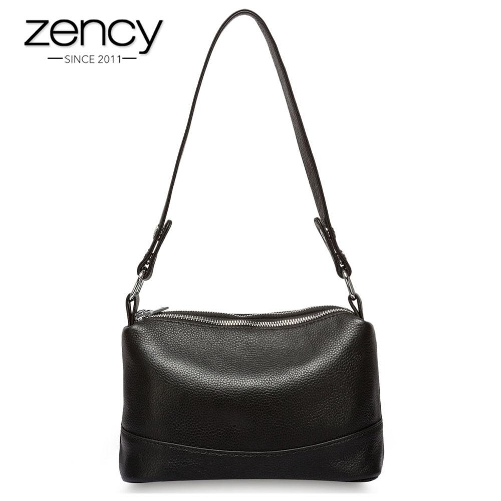 Zency 100% Genuine Leather Fashion Women Shoulder Bag Black White Handbag 3 Zippers Opening Lady Messenger Crossbody Purse Tote