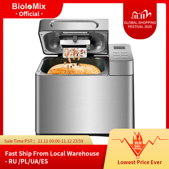Biolomix Stainless Steel 1KG 17-in-1 Automatic Bread Maker 650W Programmable Bread Machine with 3 Loaf Sizes Fruit Nut Dispenser