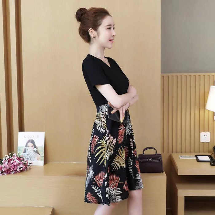 Southeast Asia Hot Selling Dress Waist Hugging Joint Floral-Print A- line Skirt Sub-Short Sleeve Mid-length Slimming WOMEN'S Dre