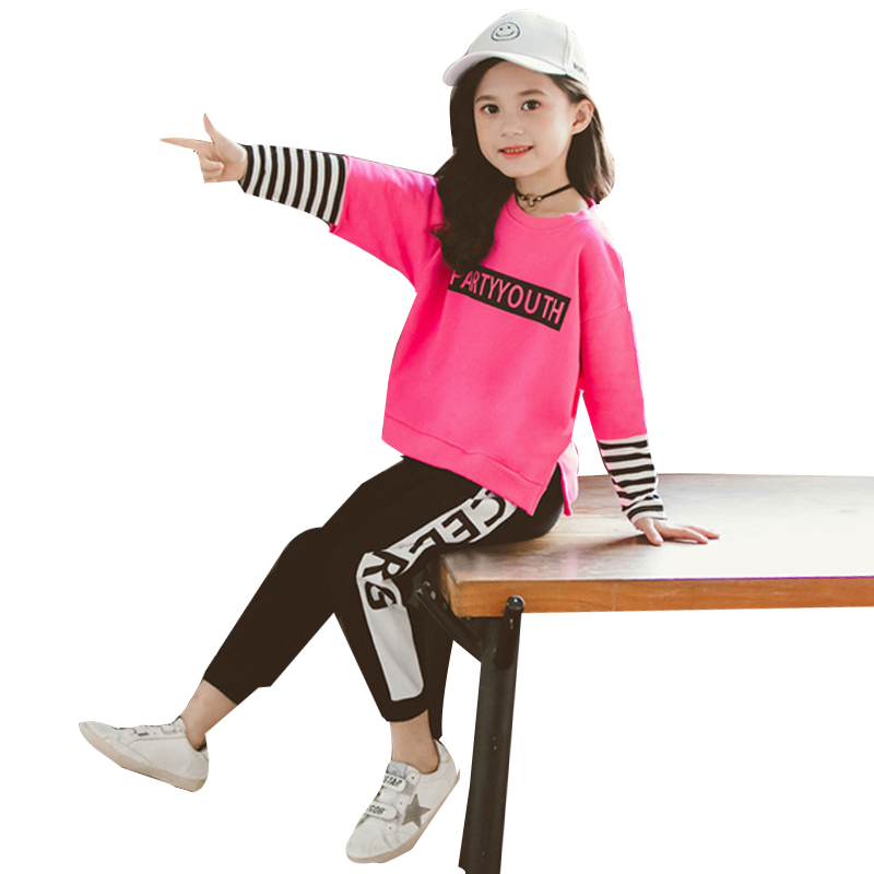 Girls <font><b>Clothes</b></font> Long Sleeve striped Sweatshirt + legging Sports Suit for girls 4 6 7 8 9 10 <font><b>11</b></font> 12 <font><b>Years</b></font> <font><b>old</b></font> Children Clothing Set image