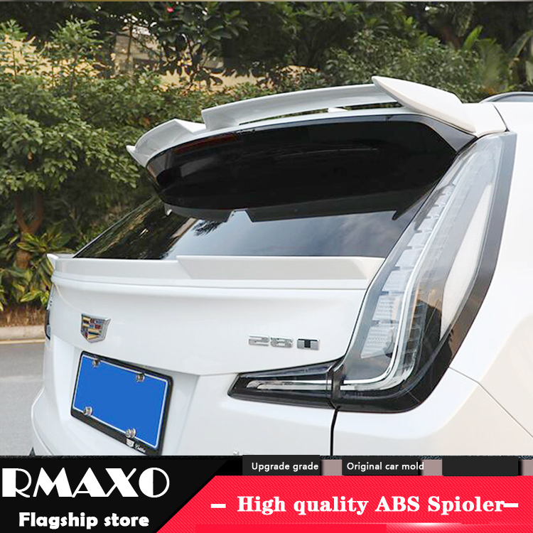 For Cadilla XT4 Spoiler 2006-2018 Cadillac XT4  High Quality Spoiler ABS Material Car Rear Wing Primer Color Rear Spoiler title=