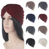 Frauen Mode Indien Cap Turban Gestrickte Hut Solide Haar Zubehör Häkeln Kopf Wraps Elastische Headwear Haar Zubehör Hut Heißer