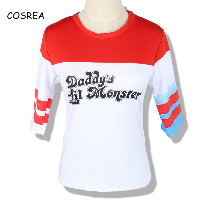 High Quality Cosplay Costumes Suicide T-Shirt Shorts Joker Daddy's Lil Monster Clown Printing Cosplay Halloween Carnival