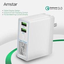 Amstar 36 Вт Quick Charge 3,0 Dual USB Автомобильное зарядное устройство адаптер Светодиодный дисплей QC 3,0 дорожное настенное зарядное устройство для iPhone, Samsung, Huawei, Xiaomi