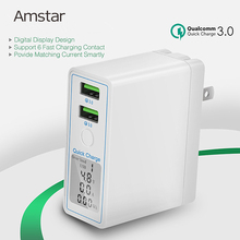 Amstar 36W Quick Charge 3.0 Dual USB Charger Adapter Led Display QC 3.0 Travel Wall Charger for iPhone Samsung Huawei Xiaomi