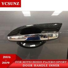 2016-2019 para Mitsubishi Pajero Sport de fibra de carbono de la manija de la puerta de insertos para Pajero Sport accesorios 2016-2019, 2020, 2021,