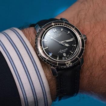 цена Reef Tiger/RT Sport Watches for Men Nylon Strap Automatic Super Luminous Steel Dive Watch with Date RGA3035 онлайн в 2017 году