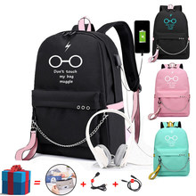 Bpzmd escola mochila multifuncional carregamento usb viagem lona estudante mochila para adolescentes meninos meninas saco de escola