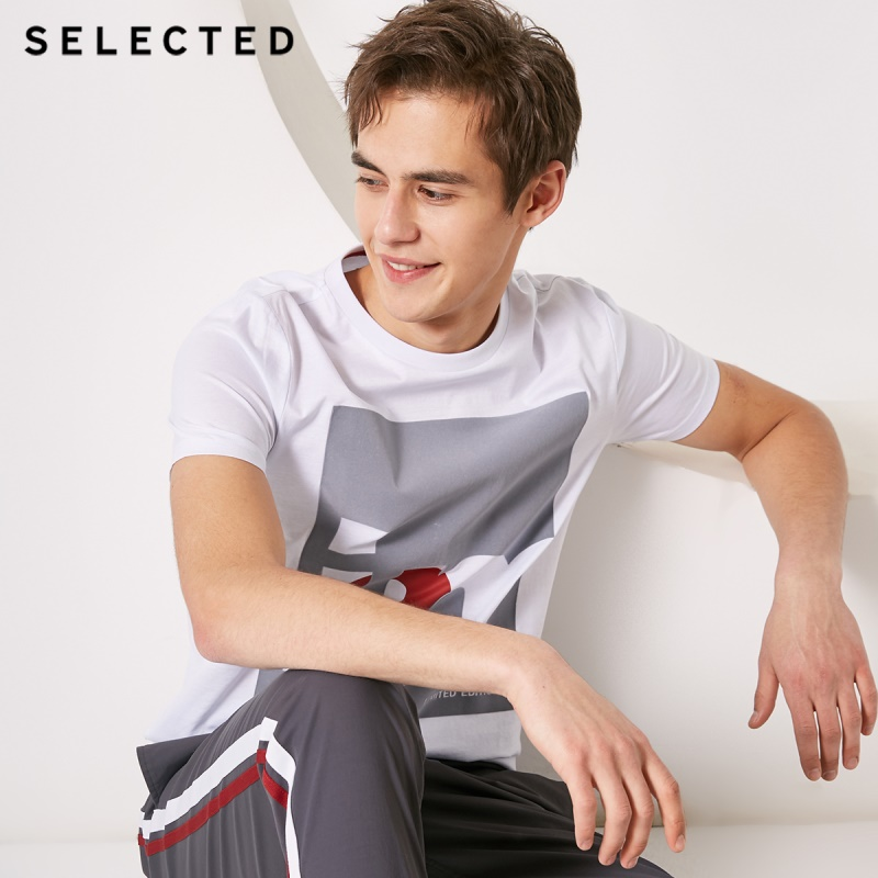 SELECTED Men 100% Cotton Letter Print O-Neck Short-sleeved T-shirt S 419101508