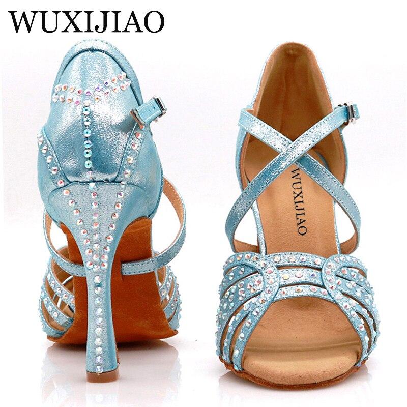 WUXIJIAO Women's Party Satin Dance Shoes Bright Rhinestones Soft Bottom Latin Dance Shoes Red / Blue Salsa Dance Shoes Heel 9cm
