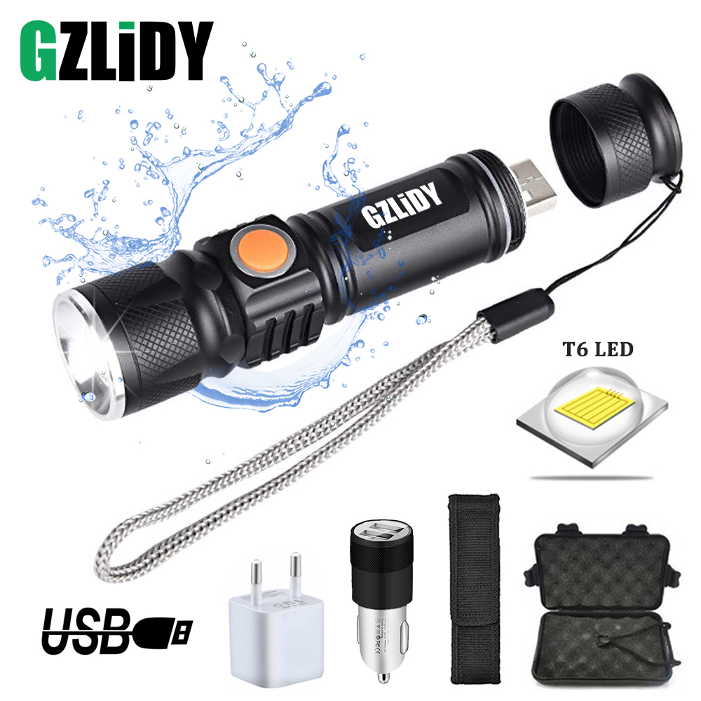 USB Rechargeable LED Flashlight Glare Built-in 18650 Lithium Battery Torch Waterproof Zoom Portable Light For Outdoor Lighting